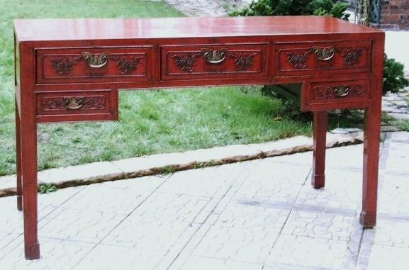 Bureau chinois ancien laque rouge galerie tao for Mobilier japonais ancien