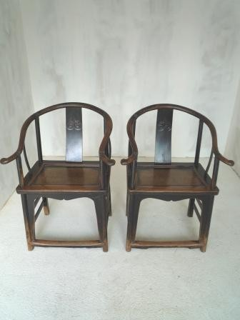 Fauteuils chinois anciens fer a cheval galerie tao for Mobilier japonais traditionnel